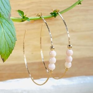 Peruvian Pink Opal Hoop Earrings 14/20 Gold Filled
